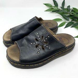 Doc Martens Vintage Black Leather Floral Sandal 6